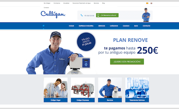 Landing pages para generar leads - Culligan