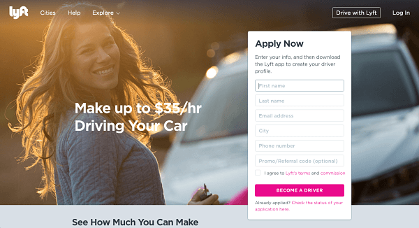 Landing pages para generar leads - Lyft