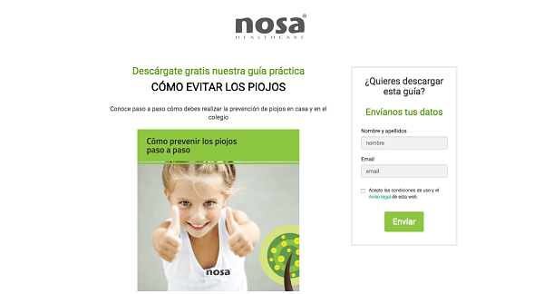 Landing pages para generar leads - NOSA Healthcare