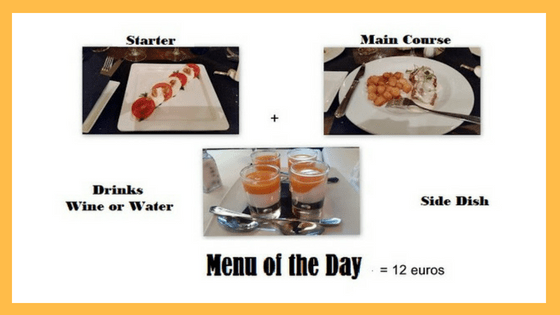 Menu of the day in Madrid