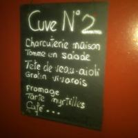 Cuve at Domaine Becheras with the menu of the day for the Vendangeurs