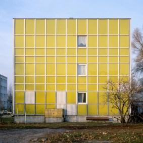 The impressively coloured Yellow Housing Estate in Warsaw, Poland.