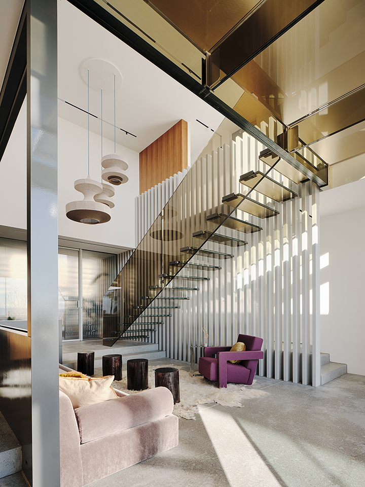 Fougeron Architecture brown glass staircase and bridge