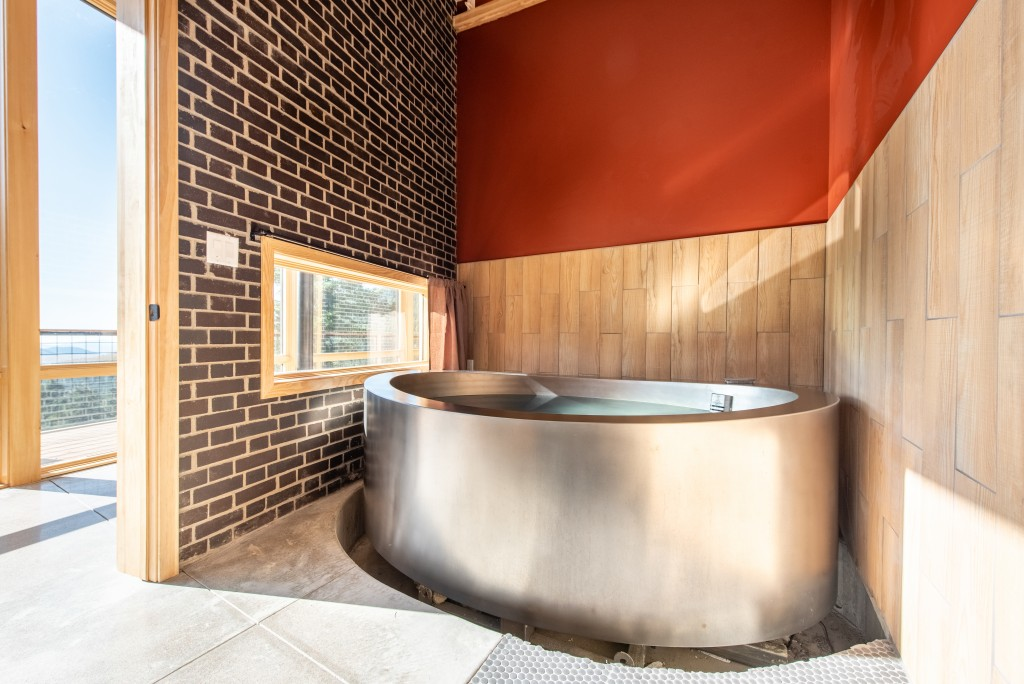 F9 Productions onsen, sculpted concrete
