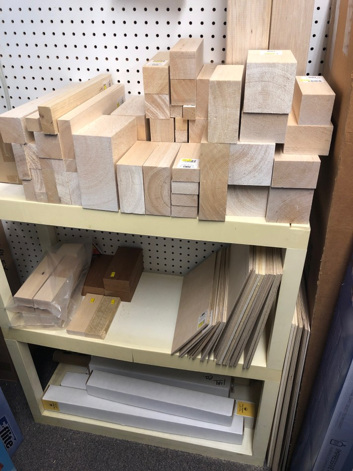Wooden blocks on the shelf at Hobby Hut Models.