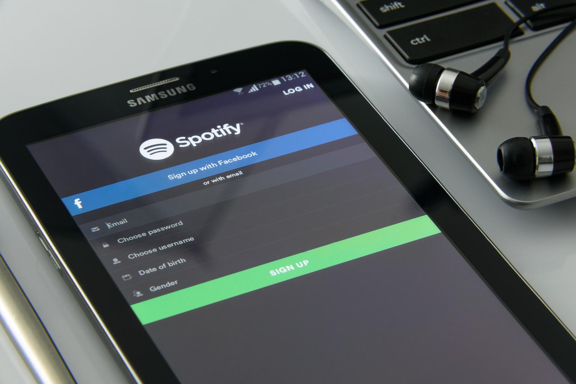 Spotify music app on smartphoone