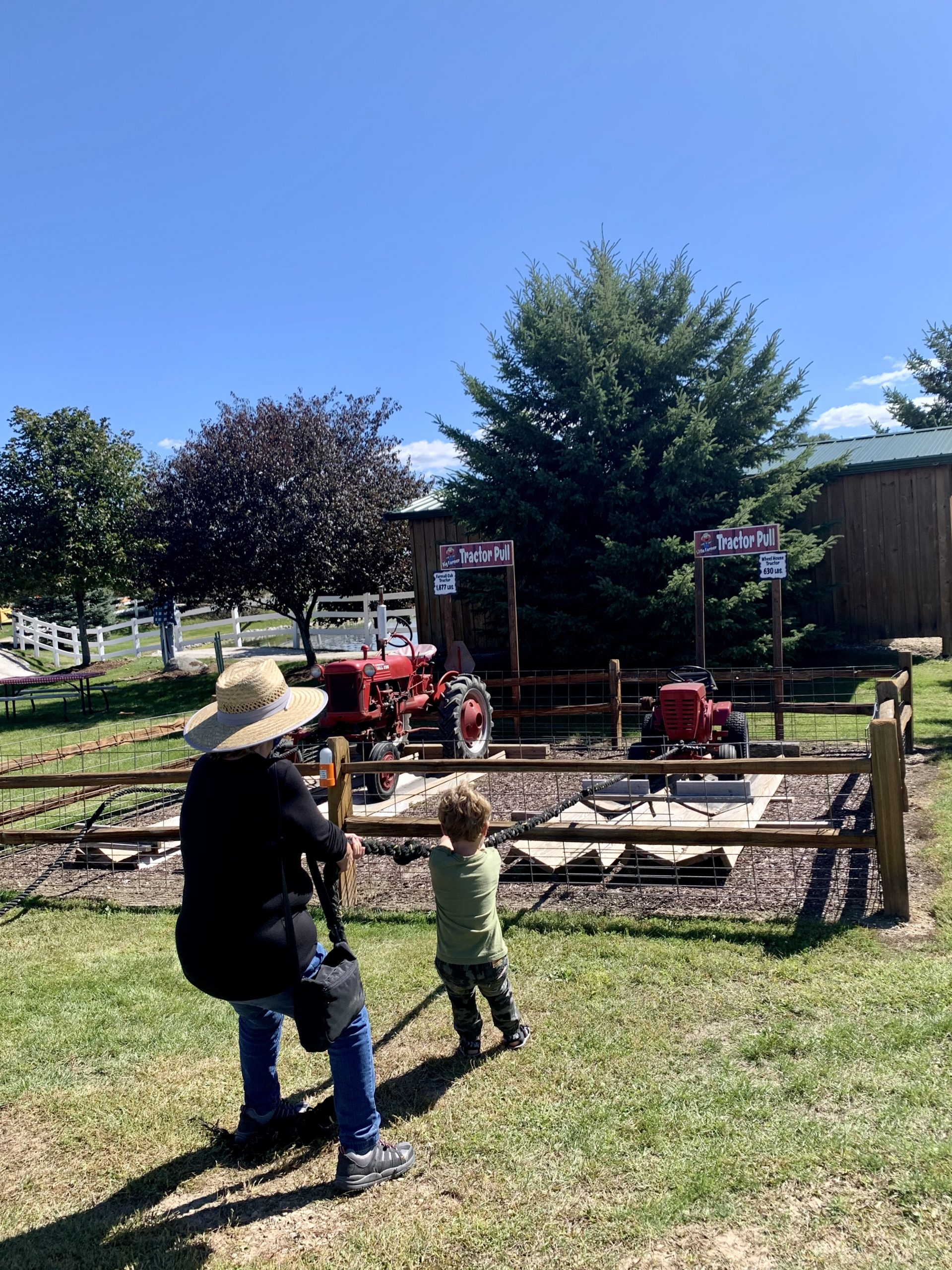 Grandma and Grandson doing the tractor pull at Basse's