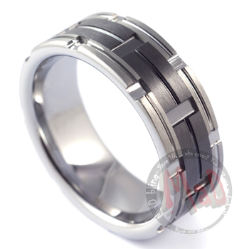 Mens Gun Barrel Wedding Rings