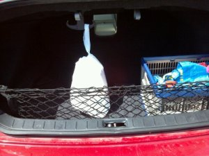 Chinese takeout is safely suspended within the trunk!