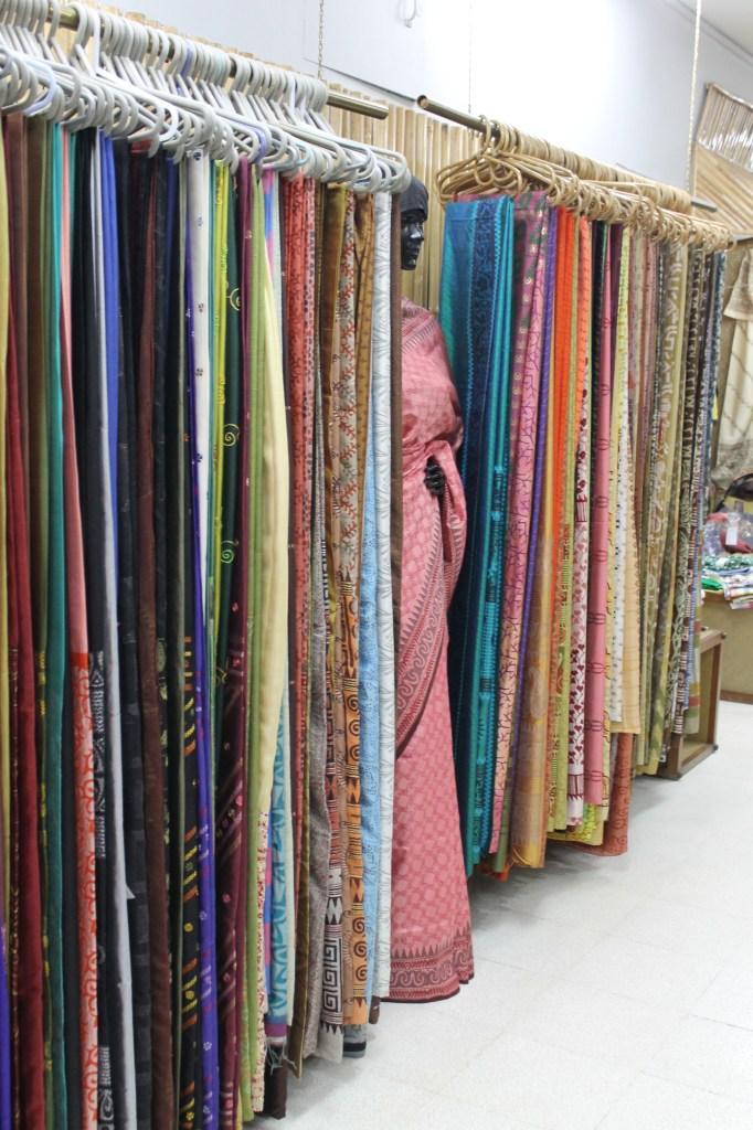 Material hanging ina  Dhaka store.