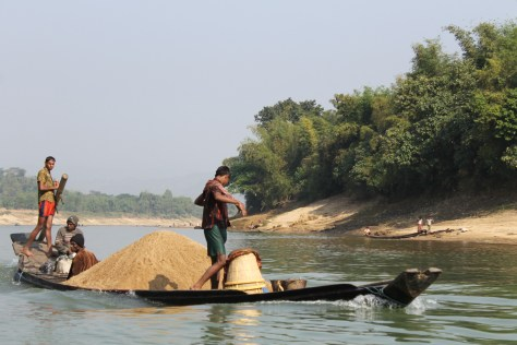 The sand being moved down river.