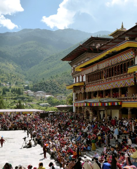 """The plaza outside the """"dzong"""" in Thimphu with tsechu crowds."""
