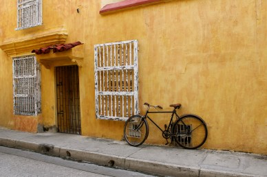 Many buildings are a cheery yellow color.