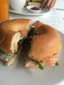 A bagel with lox from Fratelli's.