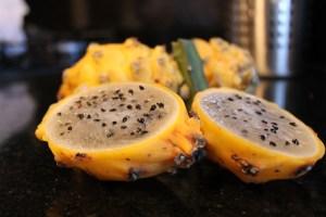 The pitaya or yellow dragon fruit.