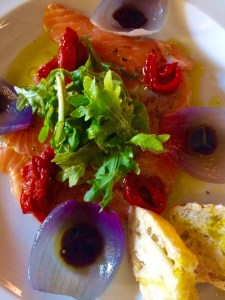 Not a pizza but one of the prettiest dishes I've had at La Diva. It's salmon.