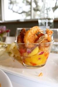 The shrimp with mango salsa.