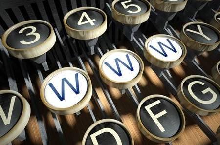 Old typewriter keyboard with www keys side-by-side