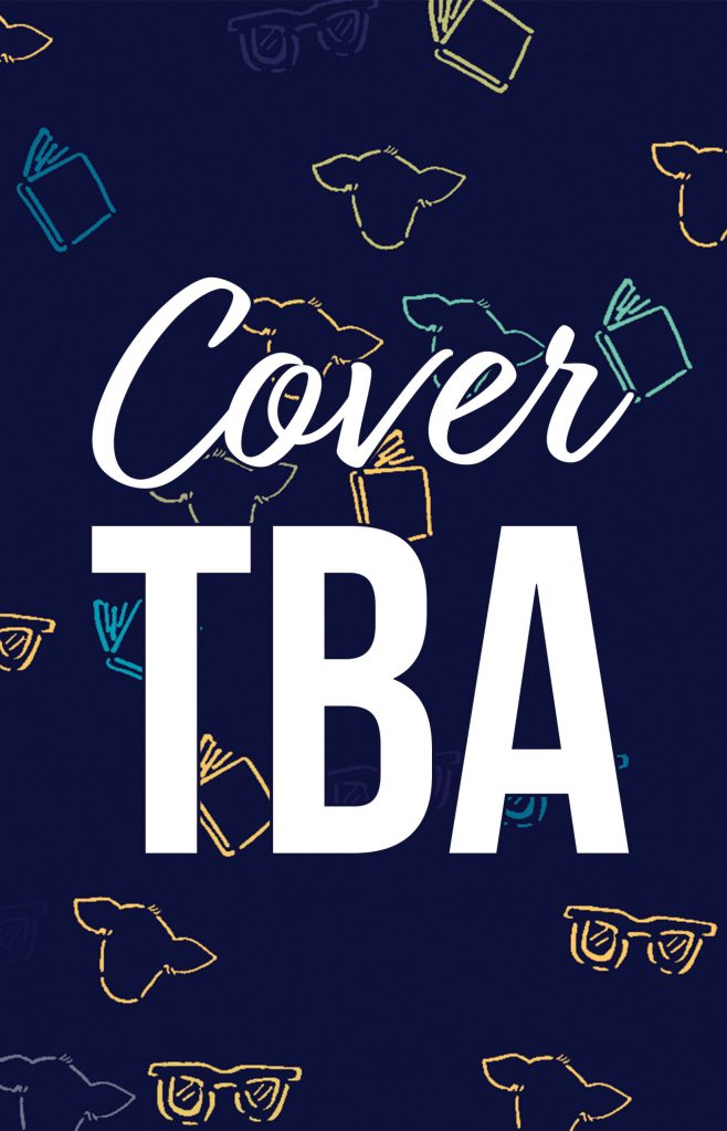 "Cover TBA placeholder image. White text reading ""Cover TBA"" sits ontop of a dark blue background with a pattern of yellow and teal cows, glasses, and books."