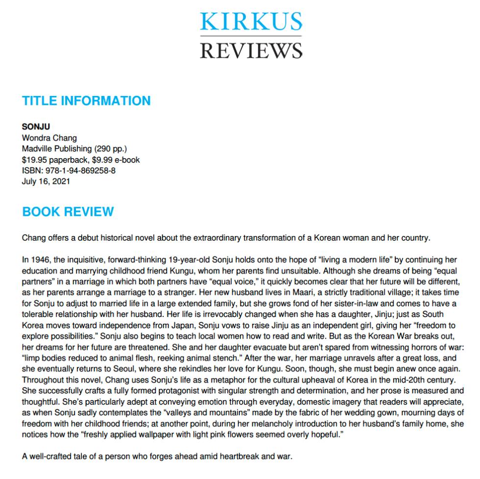 Kirkus Review for Sonju by Wondra Chang