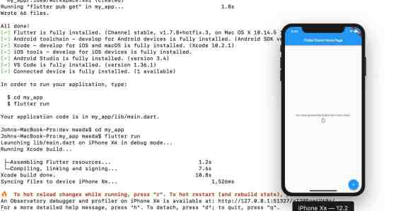 The Flutter demo successfully running on an iOS emulator with the command line results in frame.