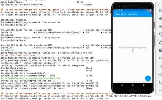 The Flutter demo successfully running on an Android emulator with the command line results in frame.