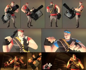 Eine muskulöse Frau mit Patronengürtel über der Schulter und großer automatischer Waffe in der Hand – mögliche Protagonistin als Heavy im Spiel Team Fortress 2