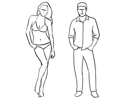 Eine gezeichnete Frau im Bikini, ein Bein etwas angewinkelt, die Hüfte schräg. Daneben ein gezeichneter Mann, die Beine etwas auseinander, die Hände in den Taschen.