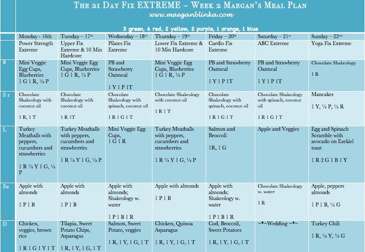 21 Day Fix Extreme Workout calendar – Maegan Blinka