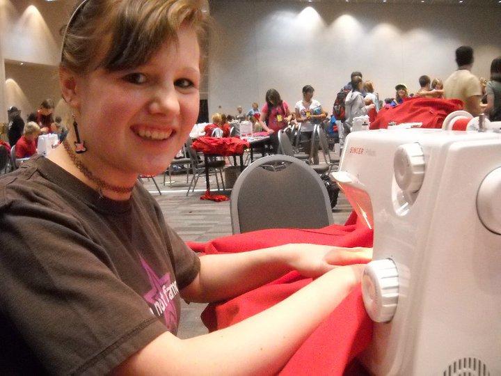 Making backpacks for kids in Africa.2010.