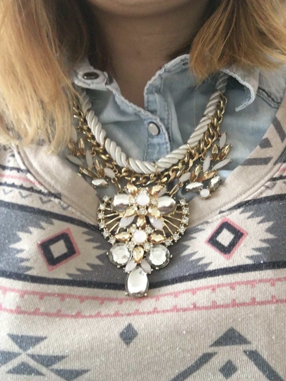 Necklace from Target, Aztec pattern sweater from Maurices, and light washed button up shirt from Maurices.