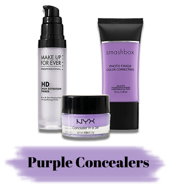Consider These:NYX Concealer in a Jar in Purple/Smashbox Photo Finish Color Correcting Primer/Make Up For Ever HD Primer