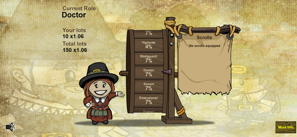 Randomly receive a role from the list on the wheel. Each with their own odds.