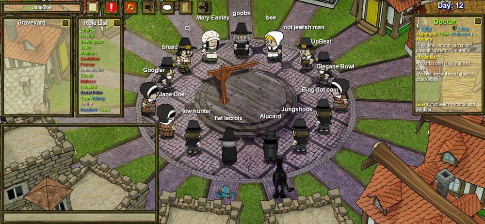 Welcome to Town of Salem, figure out who is evil and lynch them.