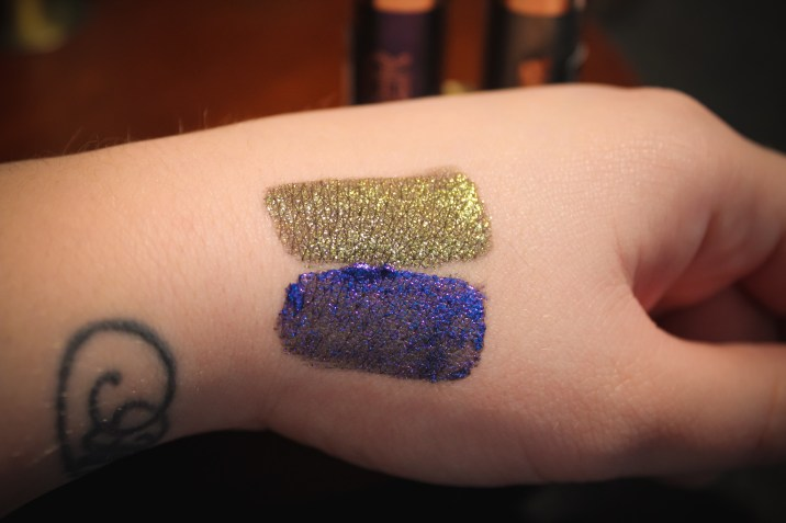Flower Beauty Warrior Glitter Shadow Camo and Poison Swatch