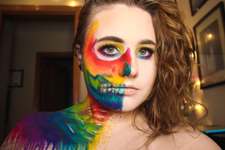 Rainbow Splatter Skull | Vanessa Davis & James Charles Inspired Makeup Look 3