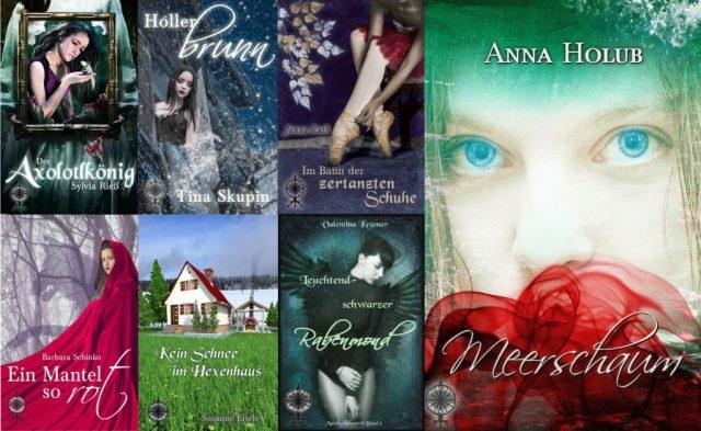 Die Cover der ersten 7 Märchenspinnerei-Bände