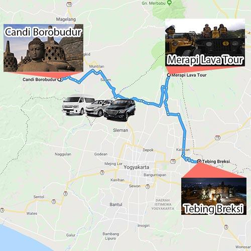 1D Trip Jogja Borobudur Merapi Lava Tour Tebing Breksi