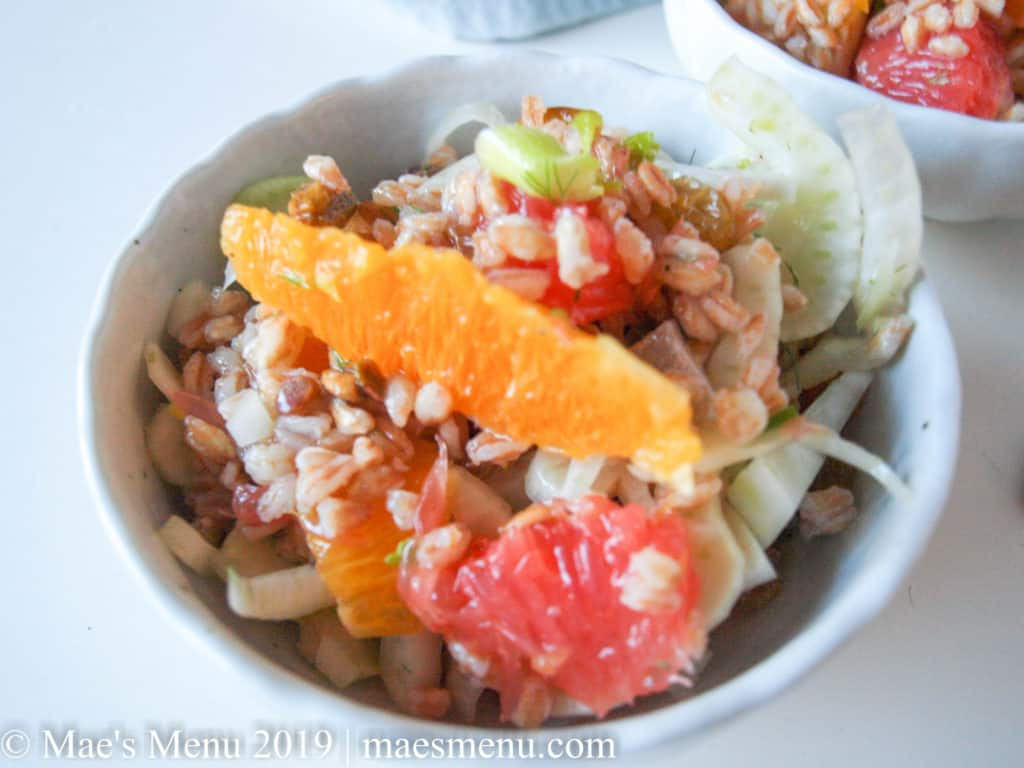 Grapefruit, oranges, fennel, and farro in a Farro, Fennel & Citrus Salad.