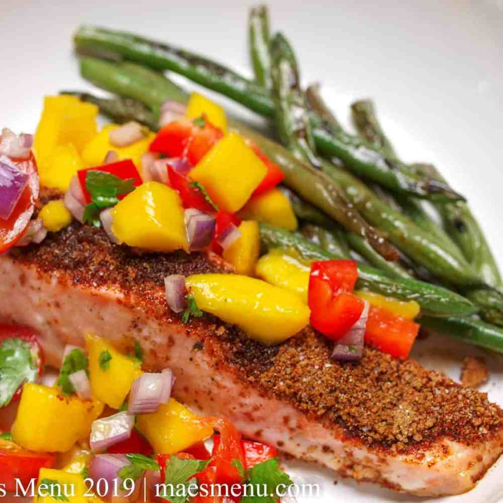 Spicy Baked Salmon with Mango Salsa