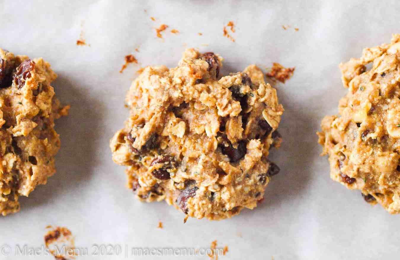 Up-close shot of oat protein breakfast cookies
