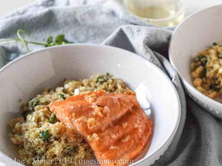 Easy Baked Salmon with Sriracha Lime Sauce