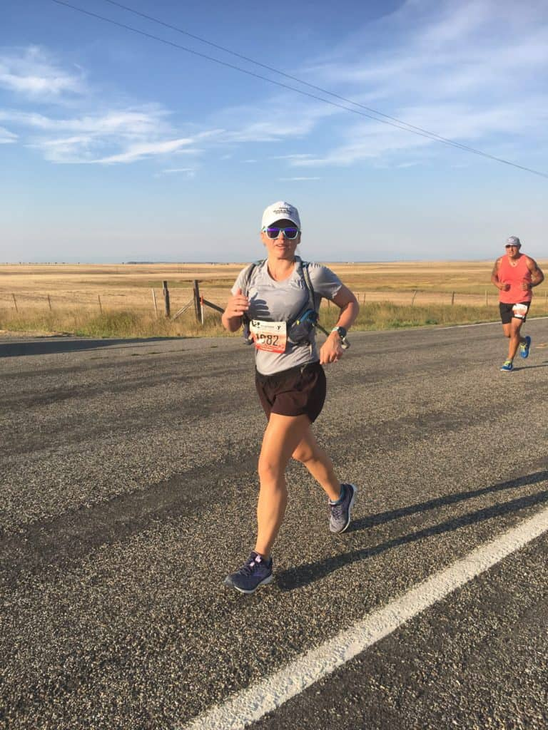 At about mile 8-9 of the Montana Marathon.