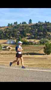 Chelsea Plummer from Mae's Menu running the Montana Marathon