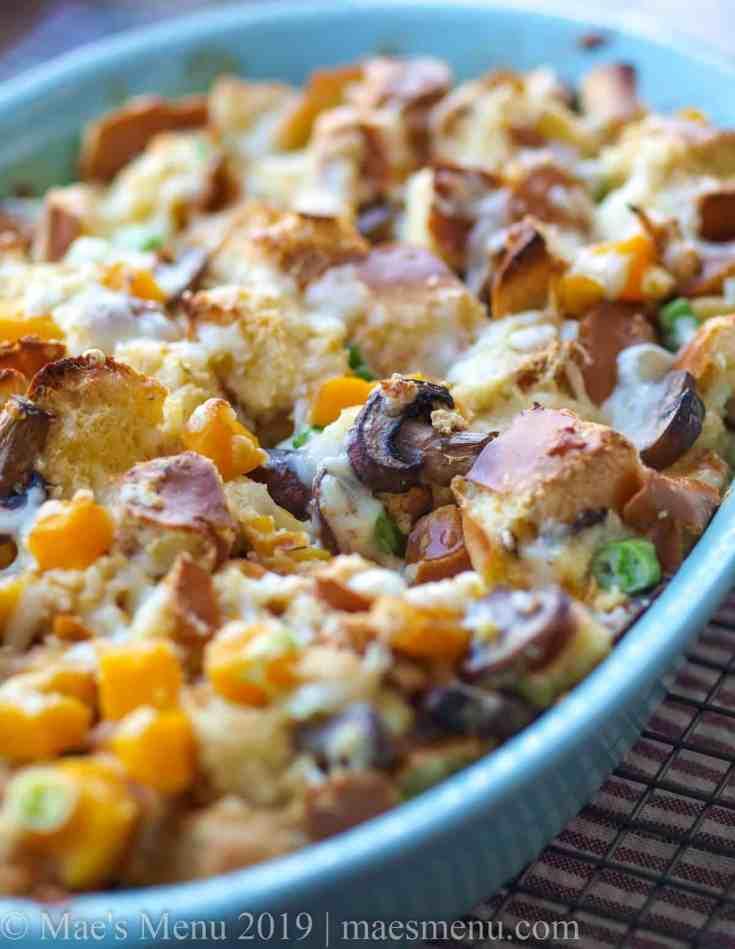Savory Bread Pudding Recipe with Mushrooms & Butternut Squash