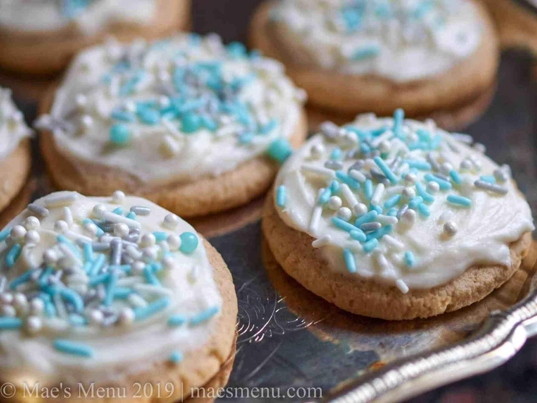 Up-close shot of high altitude Lofthouse sugar cookie copycat recipe.