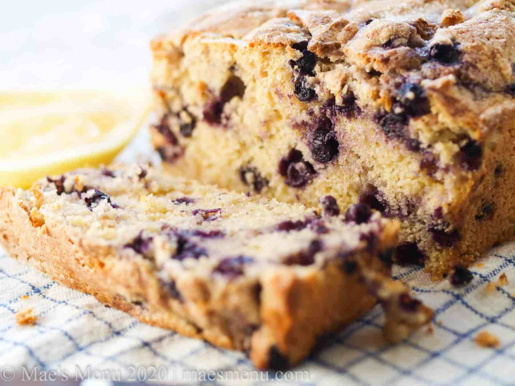 Up close shot of lemon blueberry muffin bread.