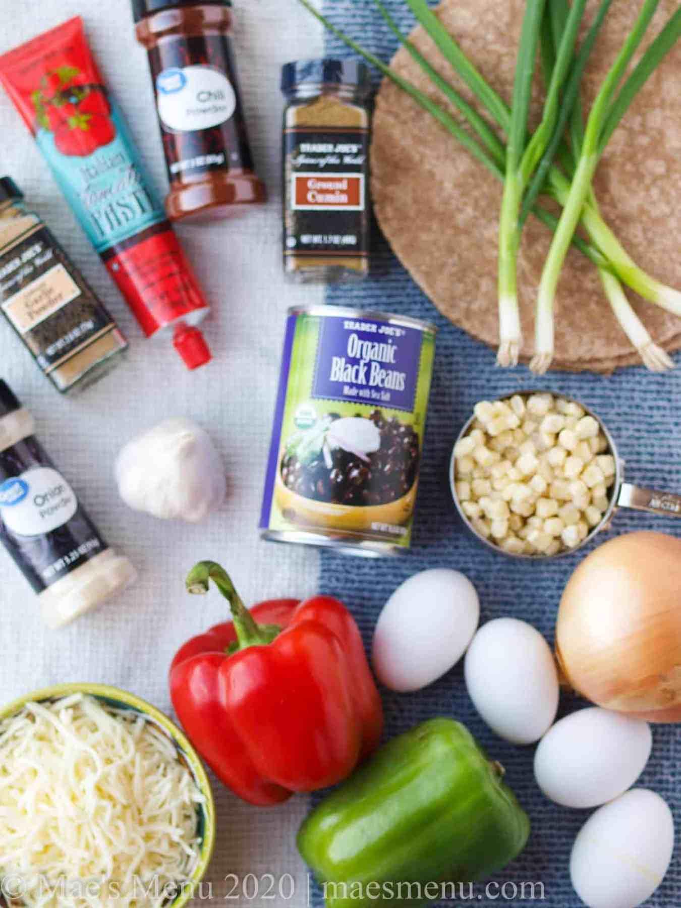 All the ingredients needed for Black Bean Breakfast Enchiladas.