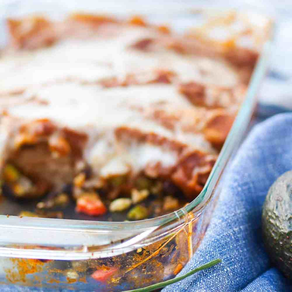 a pan of black bean enchiladas