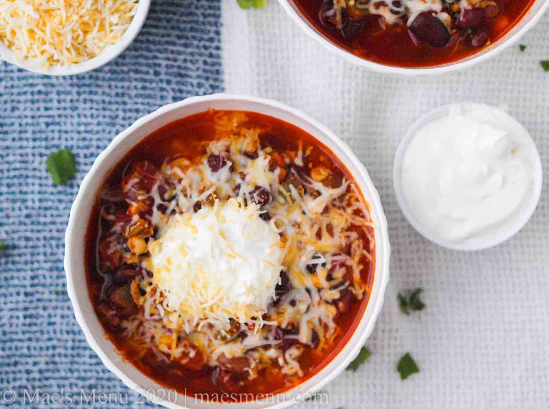 Two bowls of instant turkey chili soup.